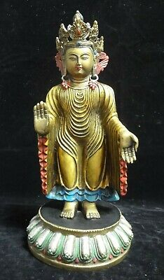 "Large Old Chinese Tibetan Hand Painted Bronze ""GuanYin"" Buddha Statue Sculpture"