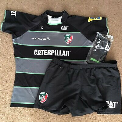 Leicester Tigers Black Match Worn and Washed Home Kit - 3XL