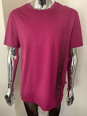 Hugo Boss Mens T-shirt Slim Fit 2XL Pink/Cerise Genuine Brand New With Tags