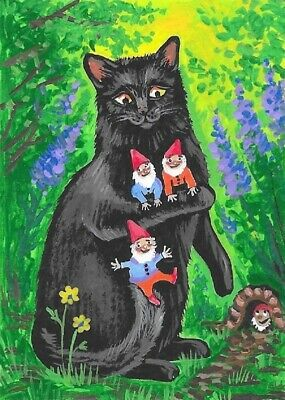 ACEO PRINT OF PAINTING HALLOWEEN RYTA BLACK CAT WITCH SISTERHOOD WITCHCRAFT ART