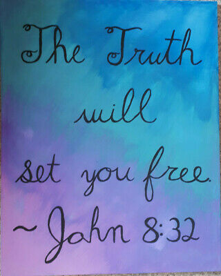 Acrylic Painting with Beautiful Bible quote: hand painted, diagonal colour fade