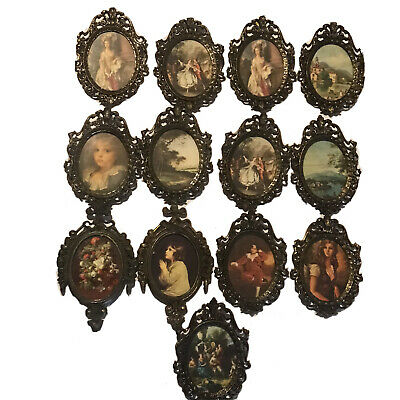 Lot Of 13 Vintage Action Oval Ornate Metal Brass Pictures Frames ITALY