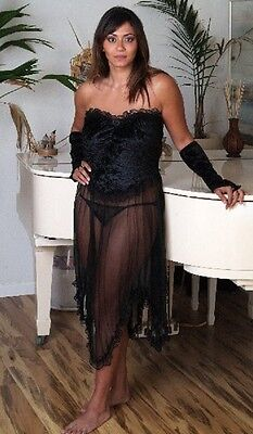 (S) Sexy Lingerie see through Black Long Gown + Black Panty + Stripper Sleeves S