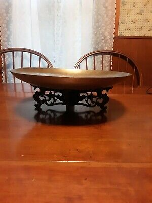 """Antique Engraved Dragon Chinese Brass Shallow Bowl 13.0"""" With Carved Wood Stand"""