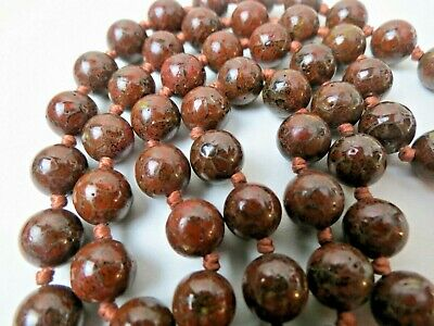 """Antique Chinese Cloisonne Hand Knotted Dark Brown Red 10mm Bead Necklace 30"""""""