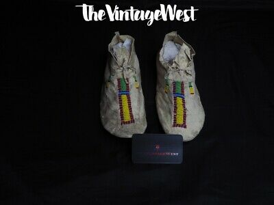 Pair of 1890s-early 1900s Cheyenne Native American Beaded Moccasins