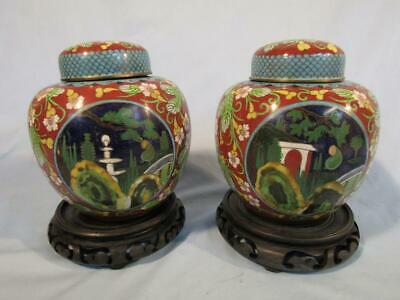 """Pair Antique Chinese Cloisonne  7"""" Covered Jars Vases - Figures In Landscape"""
