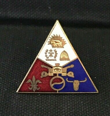 Military Insignia PIn ? Enamel with Steer, South Korea, Fleur di lis Triangle