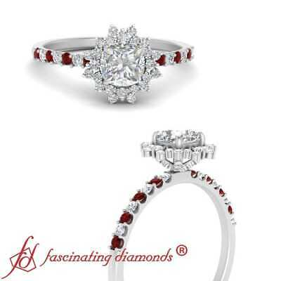 Cushion Cut Manufactured Diamond And Ruby Gemstone Halo Engagement Ring 1.10 Ctw