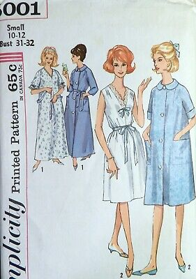 Vtg 1960s Simplicity 5001 Nightgown Sleeping Gown Robe Sewing PATTERN 10-12