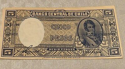 Nice Used BANCO CENTRAL DE CHILE 5 CINCO PESOS  Paper Currency Note