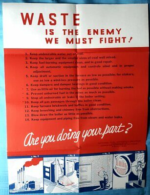 1944 Original Home Front WW II Poster WASTE IS THE ENEMY Bureau of Mines V. FINE