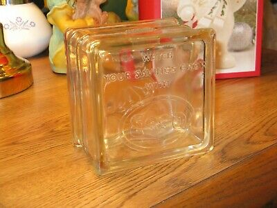 VINTAGE 1950's ESSO GAS ~ GASOLINE DOUBLE SIDED ADVERTSING GLASS BLOCK BANK