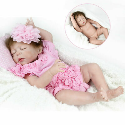 "22"" Full Body Vinyl Silicone Reborn Baby Dolls Girl Doll Lifelike Newborn Babies"