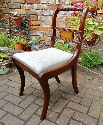 Antique Style Rope-Back Light Mahogany Dining Or Desk Chair With Brass Inlay