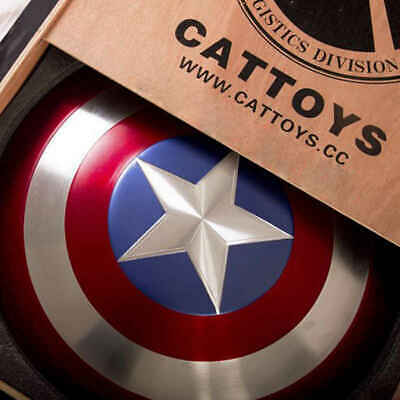 Cattoys 1:1 Avengers Captain America Shield Alloy Metal Version with Wooden Box