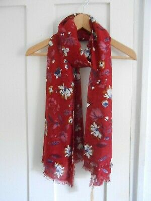 NEW EX FAT FACE RED INKY FLORAL PRINT SCARF