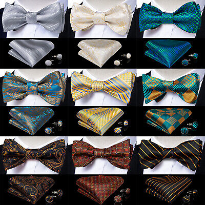Mens Silk Bow Tie Paisley Striped Plaids Floral Self Bow Tie Hanky Cufflinks Set
