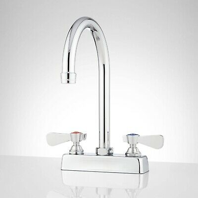 "Signature Hardware 4"" Deck-Mount Gooseneck Faucet - Chrome"