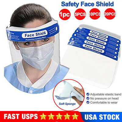 Safety Full Face Shield Clear Face Cover Eyes Protector For Work Dental Lab US