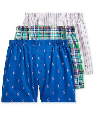 NWT MENS polo RALPH LAUREN WOVEN BOXERS UNDERWEAR 3 pack M PLAID classic fit