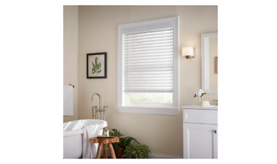 70x36 in White Cordless Faux Wood Blind Room Darkening Privacy Window Shade Wand