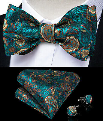 Mens Silk Green Paisley Bow Tie Self Bowtie Necktie Handkerchief Cufflinks Set