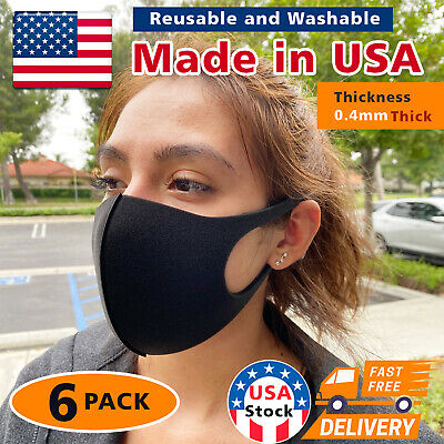 6Pack  Made in USA Black Face Mask Washable Reusable Unisex Adult 0.4mm Thick