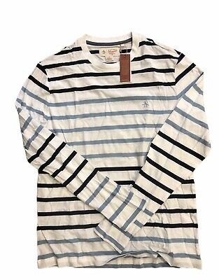 Original Penguin Mens Long Sleeve Clumsy Skaters Print bright white Large