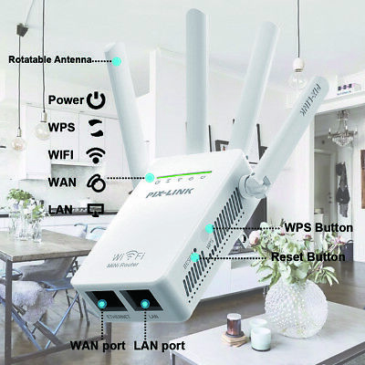 Wifi Range Extender Repeater Wireless Router Range Signal Booster 2.4GHz 1200Mps