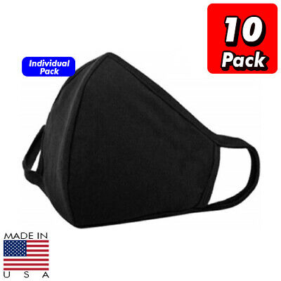 10 x Black Cotton 3D Multi Layer Washable Face Mask Facial Cover Reusable Unisex
