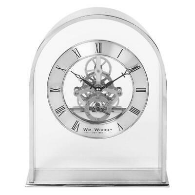 Wm. Widdop Silver Effect Arch Mantel Clock with Skeleton Movement Dial