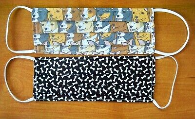USA Made Cotton Pleated Adult 1-SZ Face Mask Packed Chihuahua Faces Dog Bones