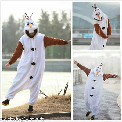 Olaf Snowman Onesiee Animal Kigurumi Pajama Sleepwear Hoody Fancy Dress Costume
