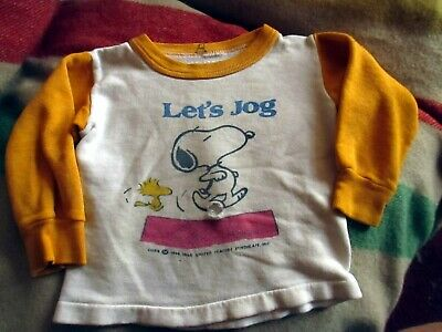 3T BOYS/GIRLS Vtg 70s SCREEN PRINT SNOOPY GRAPHIC Sweat Ringer T-shirt