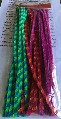 Pipe Cleaners 30 Striped Assorted Colours **** New ****