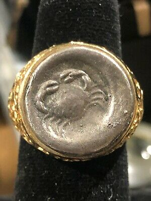 MENS Ancient Silver GREEK  Coin  Gold Tone  RING Size 9 1/2