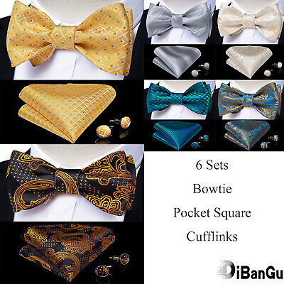 6 Sets Mens Silk Floral Paisley Plaids Bow Tie Self Bowtie Hanky Cufflinks Set