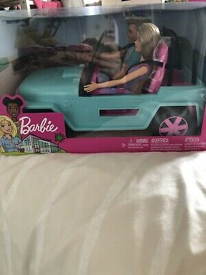 Barbie and Ken Doll & Jeep GHT35 Vehicle Car Blue Playset New Girls Toy Age 3+