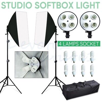 8X55W Photography Studio Softbox Lighting Soft Box Continuous Light Stand Kit UK