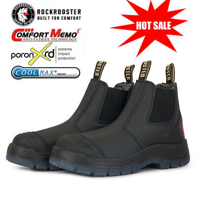 ROCKROOSTER Men's Work Boots Soft Toe Water Resistant Pull On Comfortable Safety