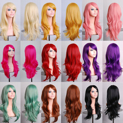 Womens Long Curly Wigs Ladies Wavy Hair Cosplay Wig Party Costume Fancy Dress
