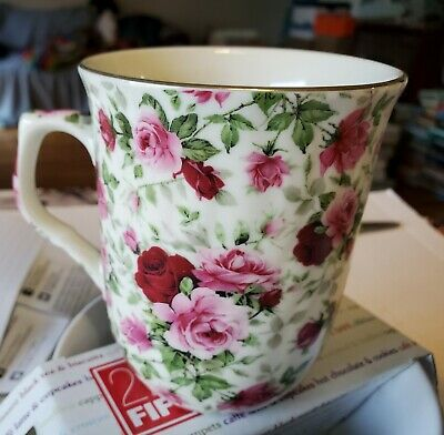 Formalities by Baum Bros Rose Chintz Cups Mugs Red Pink Gold Trim 10oz