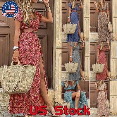 Women Ladies High Waist Casual Skirt Retro Long Flared A line Midi Skirt Dress