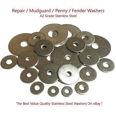 Penny Washers M4 M5 M6 M8 M10 M12- A2 Stainless Steel Repair Washer Mudguard