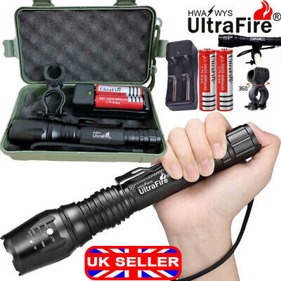 100000LM T6 CREE LED Flashlight Rechargeable Zoomable Torch Work Light Headlamp