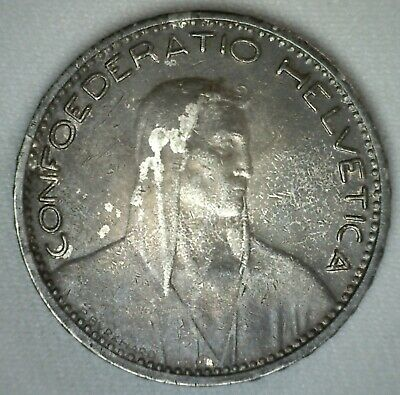 1923 B Switzerland 5 Francs Silver Coin Very Fine