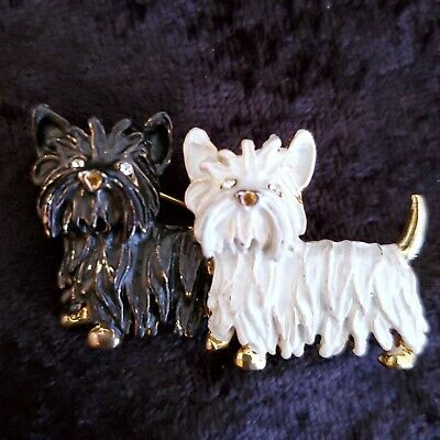 Westie Silver and White Enamel Scottish Terrier Brooch Highland Terrier #614
