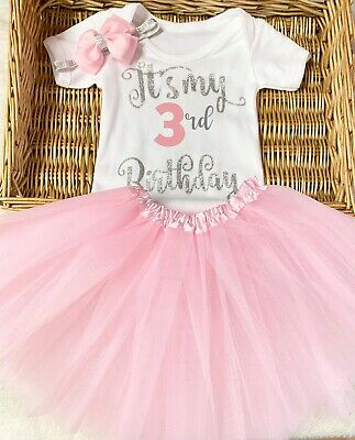 four pink girl silver three two Minnie mouse princess birthday outfit age one