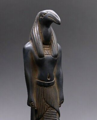 ANCIENT EGYPTIAN GOD TOTH IBIS EGYPT Antiques Statue Carved Black STONE BC